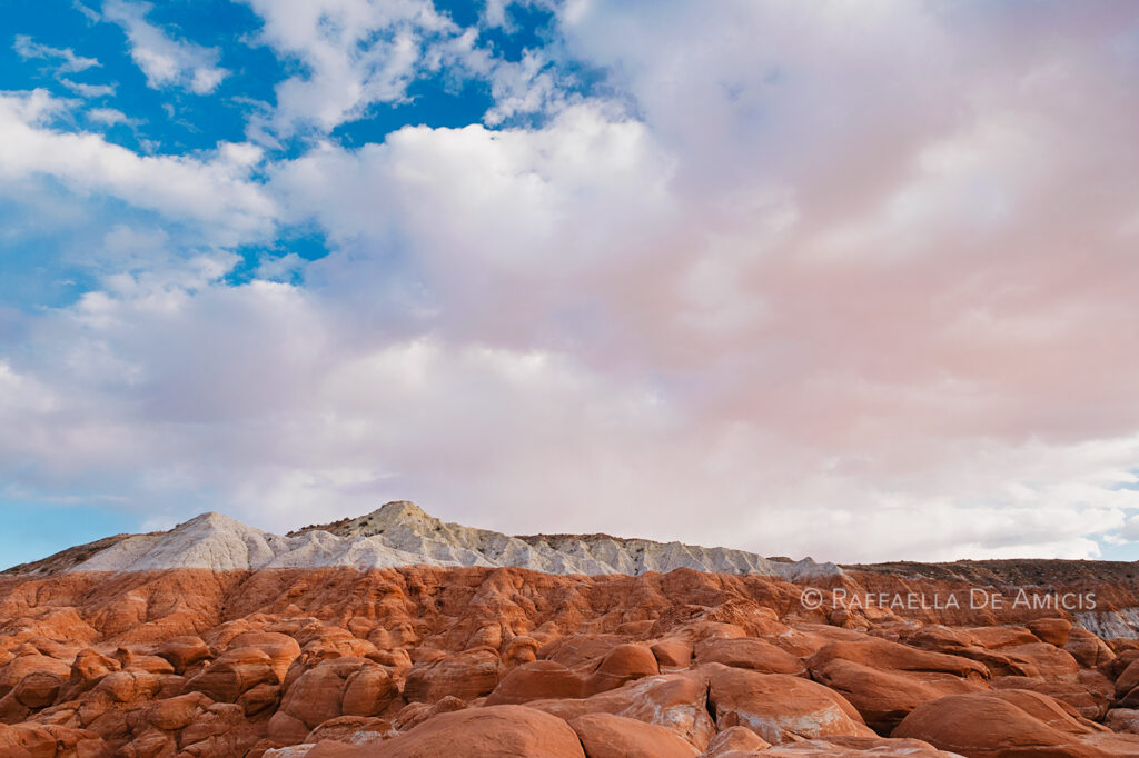 kanab toadstools, blue sky and clouds over red rock